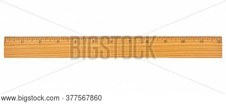 Retro Wood 12 Inch Ruler With Beveled Edge Isolated On White