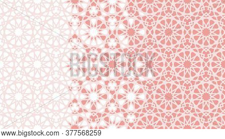 Arabesque Vector Seamless Pattern. Geometric Halftone Texture With Coral Or Orange Color Tile Disint