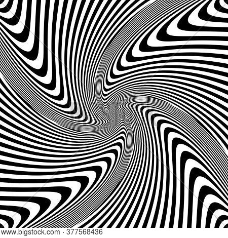 Abstract op art vortex movement design. Lines texture.