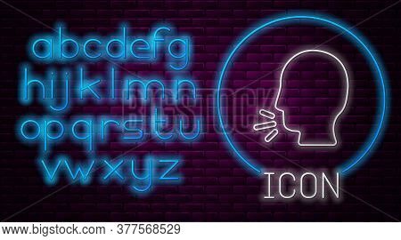 Glowing Neon Line Man Coughing Icon Isolated On Brick Wall Background. Viral Infection, Influenza, F