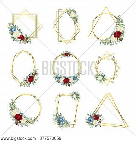 Gold Frames Set. Botanical  Geometric Crystal Stone Polyhedron. Floral Art Deco Style For Wedding In