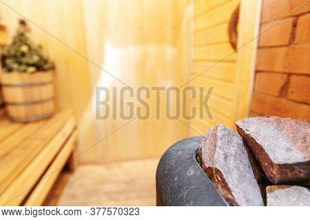 Interior Details Finnish Sauna Steam Room With Traditional Sauna Accessories Basin Birch Broom. Trad