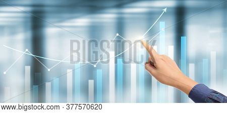 Hand  Plan Graph Growth And Increase Of Chart Positive Indicators In His Business