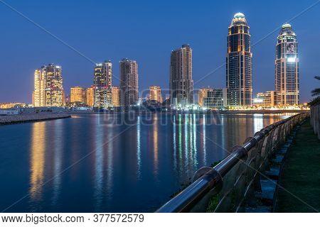 Doha, Qatar - Nov 22. 2019. District Qanat Quartier On Pearl Island