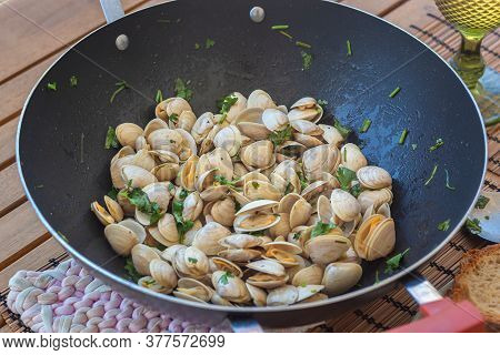 Clams Cooked In A Pan, Healthy Lunch