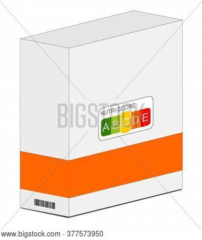 Nutri-score Label C On A Carton Orange, 5-colour Nutrition Label - 3d Illustration
