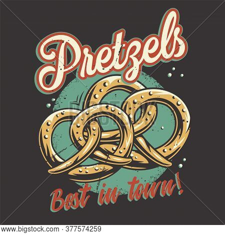 T-shirt Colored Print With Bavarian Beer Pretzels