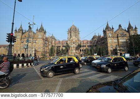 MUMBAI, INDIA - FEBRUARY 14, 2020: Victoria Station (Chatrapati Shivaji terminal) in Mumbai, India