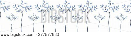Row Of Blue Trees Horizontal Vector Border. Decorative Nature Themed Surface Print Design For Embell