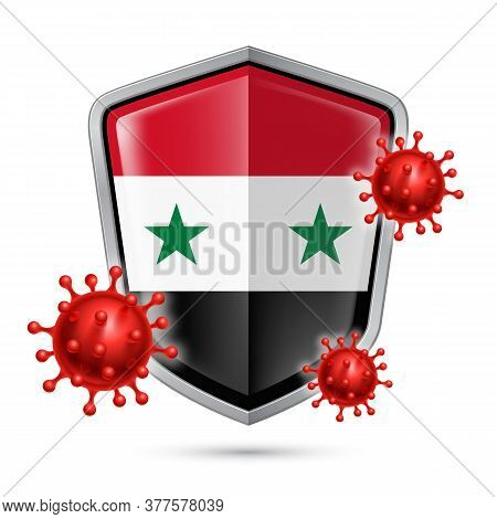 Flag Of Syria On Metal Shiny Shield Icon And Red Corona Virus Cells. Concept Of Health Care And Safe