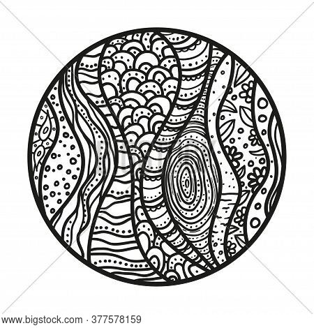 Zendala. Zentangle. Hand Drawn Circle Mandala With Abstract Patterns On Isolated Background. Design