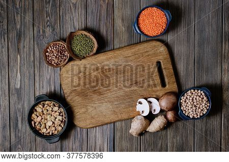 Legumes, Lentils, Chikpea And Beans Assortmen Top View. Composition Of Different Types Of Legumes In