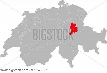 Glarus Canton Isolated On Switzerland Map. Gray Background. Backgrounds And Wallpapers.