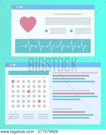 Cardiogram Template Report, Screen Of Heartbeat, Poster Decorated By Icons And Lines, Hospital Logo,