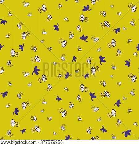Doodle Honey Bees Seamless Vector Pattern On Bright Yellow. Pollinators Seamless Vector Pattern For