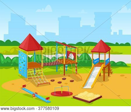 Playground With Building View, Playing Yard With Sandbox, Slide And Climb Equipment. Swing And Rope,