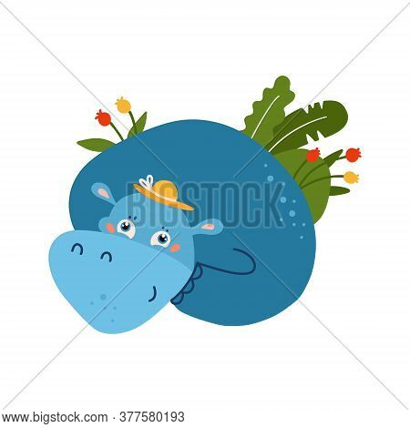 Blue Funny Hippo Animal With Summer Palm Tropical Leaves. Childish Concept For Your Paper Textile De