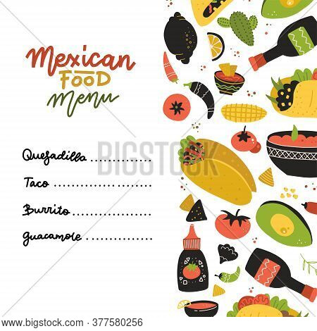 Mexican Food Menu Design Template. Square Banner Set. Mexican Food Cafe. Vector Flaty Hand Drawn Ill