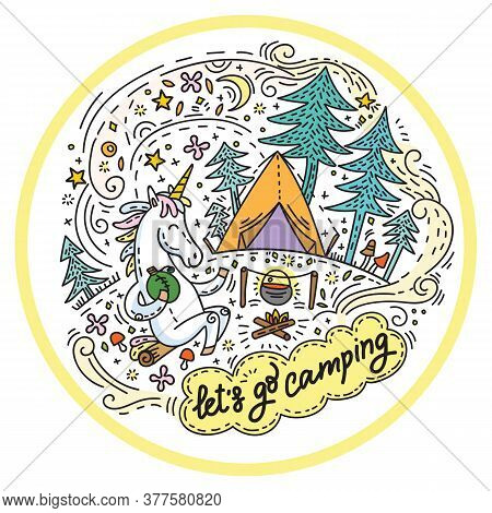 Funny Cute Unicorn In Good Mood Enjoy Camping. Vector Humor Character In Doodle Style.colorful Isola