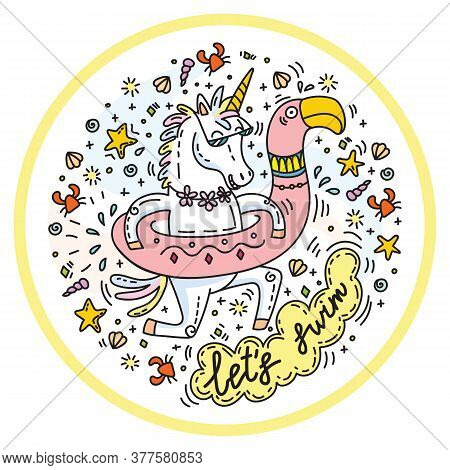 Funny Unicorn Goes Swimming With Circle For The Pool In Shape Of Flamingo. Clorful Vector Humor Char