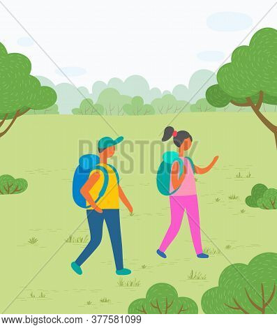 Hiking Sport, Hikers Couple With Backpacks On Nature Vector. Backpacking Or Camping In Park, Romanti