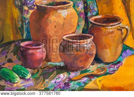 Still-life With Ceramic Pots And Cucumbers Hand Painted With Tempera Paints On Paper
