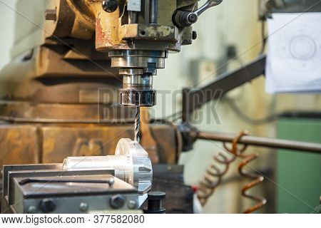 The Milling Machine Drilling The Hole On Aluminium Shaft Part By Drill Tools. The Metal Working Proc