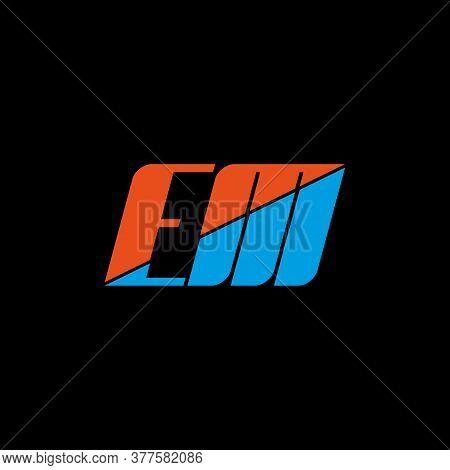 Em Letter Logo Design On Black Background. Em Creative Initials Letter Logo Concept. Em Icon Design.