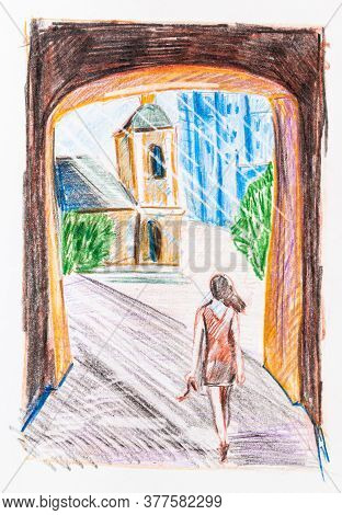 Sketch Of Young Woman Goes To Town Through Passage In City Wall In Summer Hand-drawn By Color Pencil