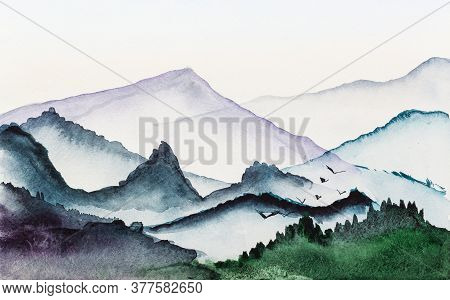Panorama With Low Mountains In Morning Hand Painted By Watercolour Paints On White Textured Paper