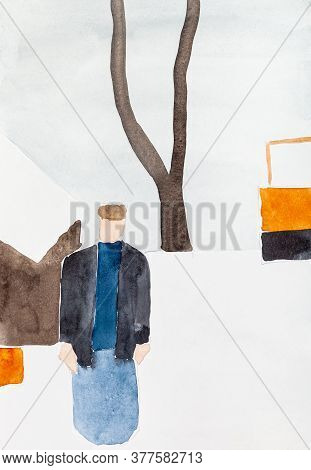 Abstract Art - Peasant And Tractor Near Snow-covered Rural Hut On Winter Day Hand Painted By Waterco