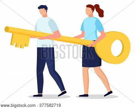 Man And Woman Hold Together Golden Key To Open Locked Door. Knowledge And Partnership Can Lead To Su