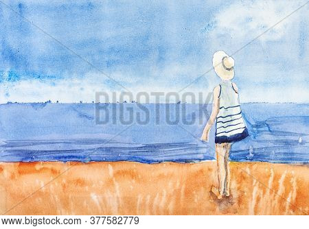 Girl In Short Dress And Straw Hat Looks Out To Sea From Sandy Beach In Le Touquet Hand Painted By Wa