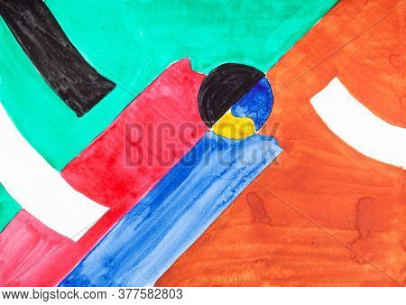 Abstract Art - Colorful Geometrical Figures Hand Painted By Watercolour Paints On White Textured Pap
