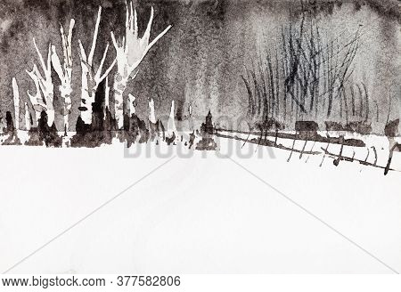 Birch Grove On Outskirts Of Village In Winter Hand Painted By Watercolour Paint On Old Textured Pape