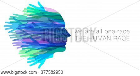 We Are All One Race.  The Human Race.  A Face Made With Hands.  Isolated On White With Of Room For Y