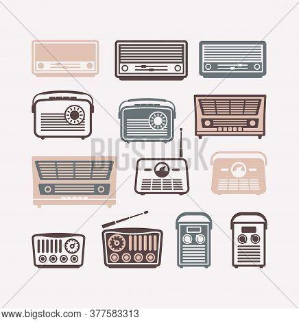 Retro Radio Vector Icons. Set Of Flat Illustrations