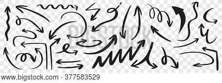 Set Of Hand Drawn Black Arrows. Doodle Curved Scattered Scribble Sketch Pointer Line Direction Arrow