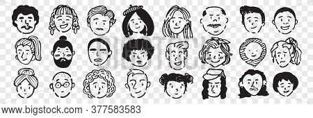 Hand Drawn Human Faces Doodle Set. Collection Of Pen Ink Pencil Drawing Sketches Of Young Old Men Wo