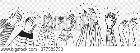 Hand Drawn Clapping Human Hands Doodle Set. Collection Pencil Chalk Drawing Sketches Men Women Raisi