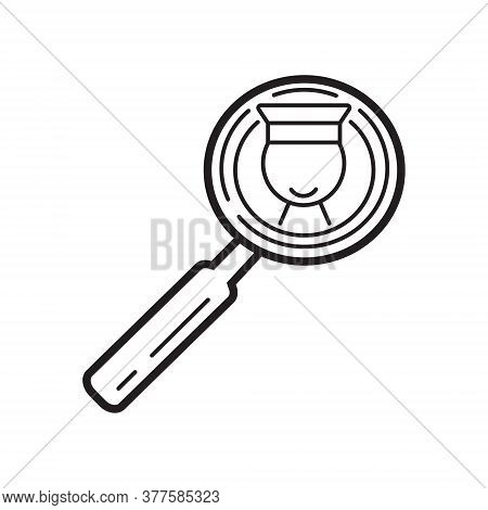 Lecturer Icon Vector. Online Search Symbol. Business Presentation In Outline Style. Magnifying Glass
