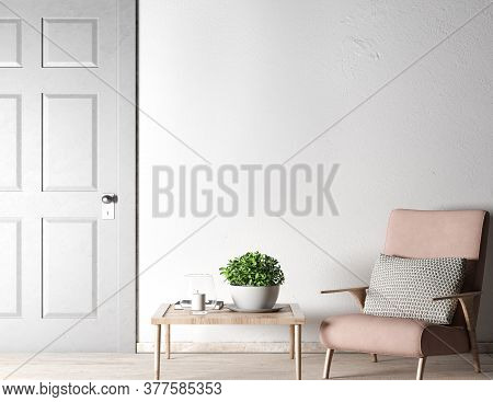 Living Room Mock Up In Farmhouse Style, 3d Illustration