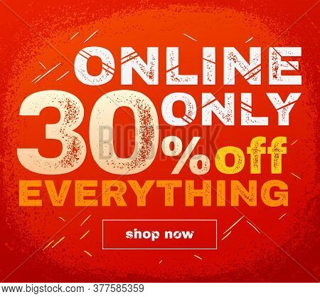 Online Only Sale Banner. Sale And Discounts. Vector Illustration