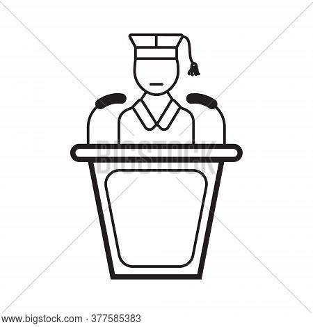 Lecturer Icon Vector. Business Presentation In Outline Style. Presenter, Webinar Sign. Remote Work,