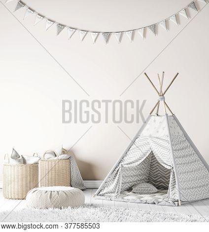 Kids Playroom Interior Mockup, Nursery Decor, 3d Illustration