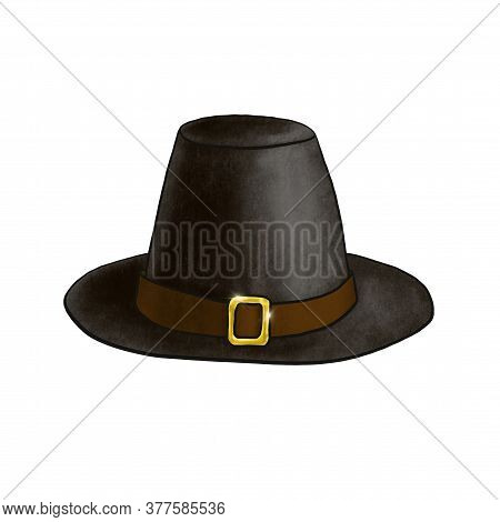 Black Pilgrim Hat Isolated On White Background. Digital Imitation Of Pastel Illustration Dark Headdr