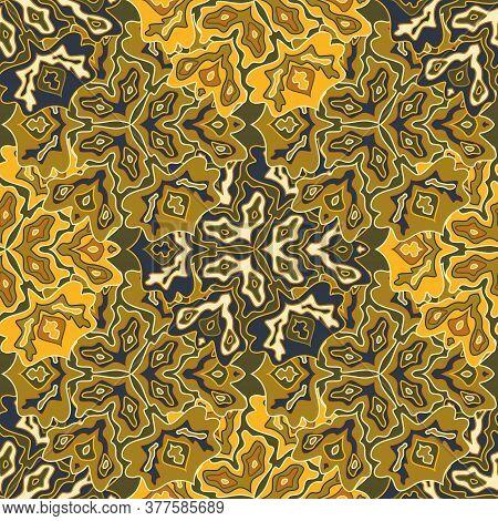 Modern Floral Seamless Pattern In Bright Summer Positive Colors. Mandala Medallion Fluid Leaves Orna