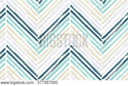 Bohemian Chevron Fashion Print Vector Seamless Pattern. Paint Brush Stroke Geometric Stripes. Hand D