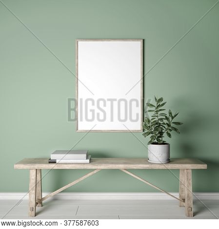 Mockup Frame On Green Interior Background, Wooden Furniture In Farmhouse Style, 3d Illustration