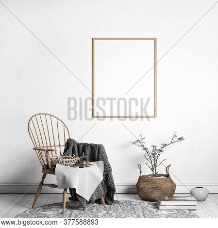 Farmhouse Interior Design, Wooden Frame Mpckup, 3d Illustration , Rendering